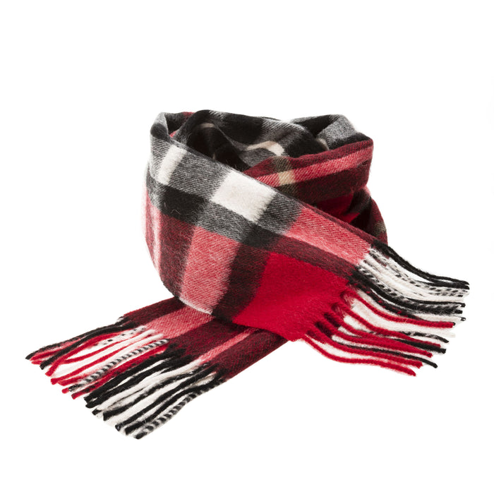 Edinburgh 100% Lambswool Scottish Tartan Multicolour Scarf Exploded Scotty Thomson Red