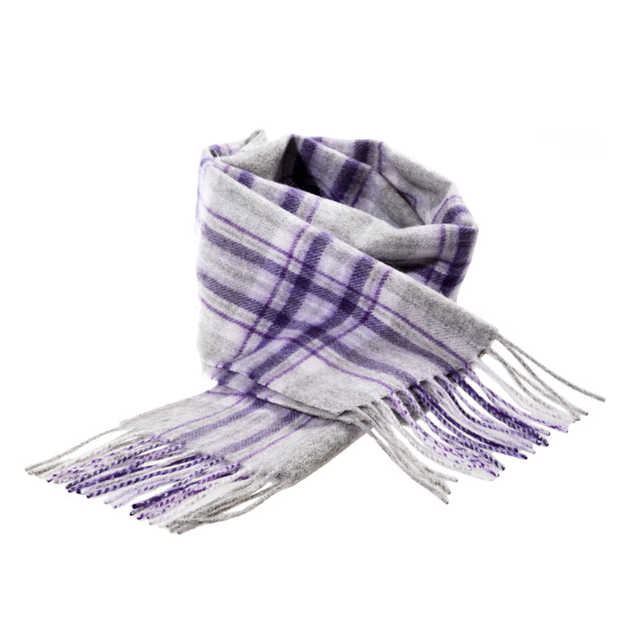 Edinburgh 100% Lambswool Scottish Tartan Multicolour Scarf Stewart Purple
