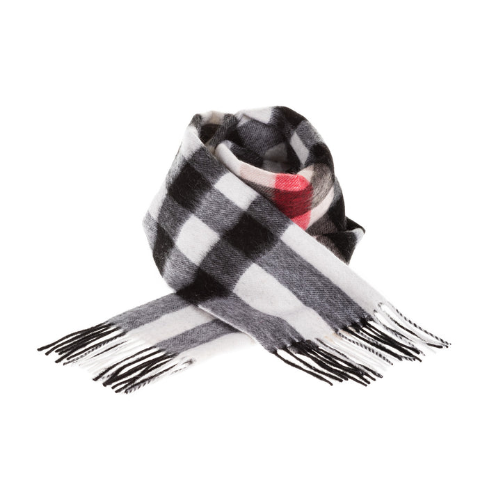 Edinburgh 100% Lambswool Scottish Tartan Multicolour Scarf Red And Black