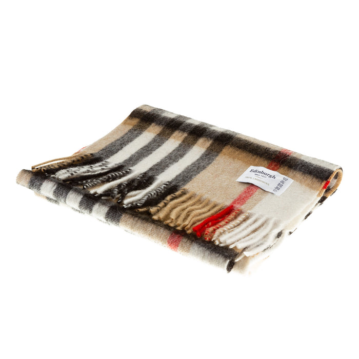 Edinburgh 100% Lambswool Scottish Tartan Multicolour Scarf Chequer Camel And Grey (24538)