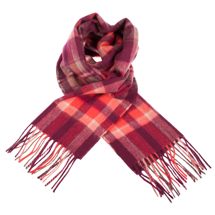 Edinburgh 100% Lambswool Scarf  Henold - Dk Red/Coral