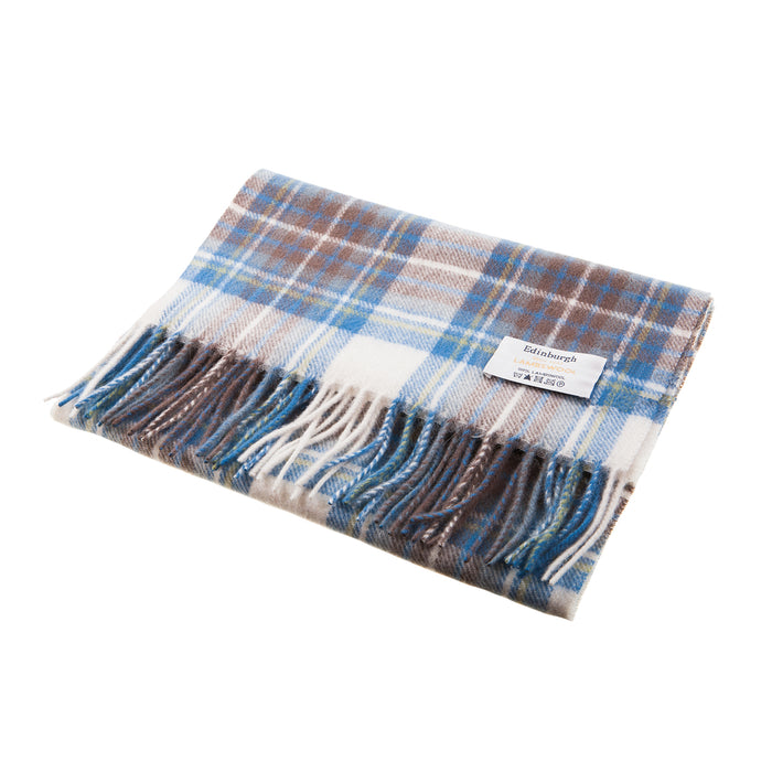Edinburgh 100% Lambswool Scottish Tartan Multicolour Scarf Stewart Muted Blue