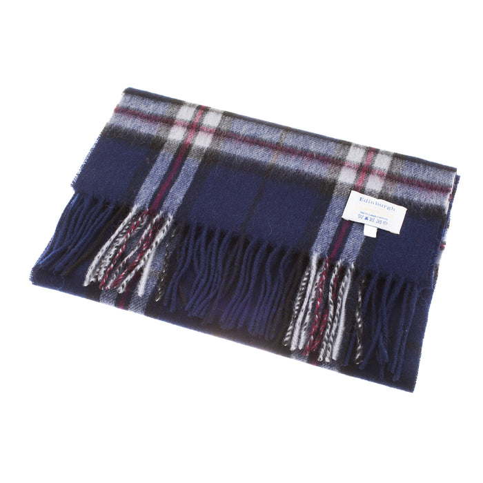 Edinburgh 100% Lambswool Scottish Tartan Multicolour Scarf Thomson Navy