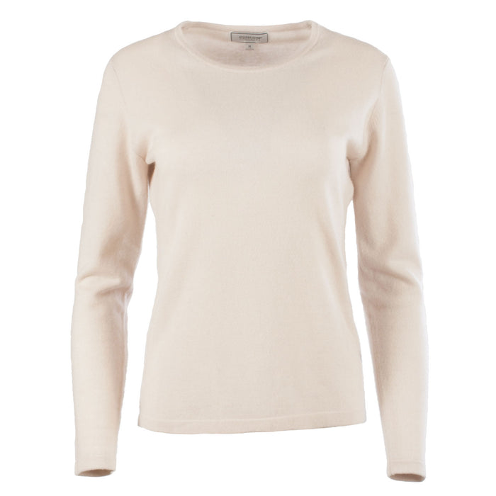 Dunedin 100% Cashmere Ladies Fashion Crew Neck Jumper Earl Grey