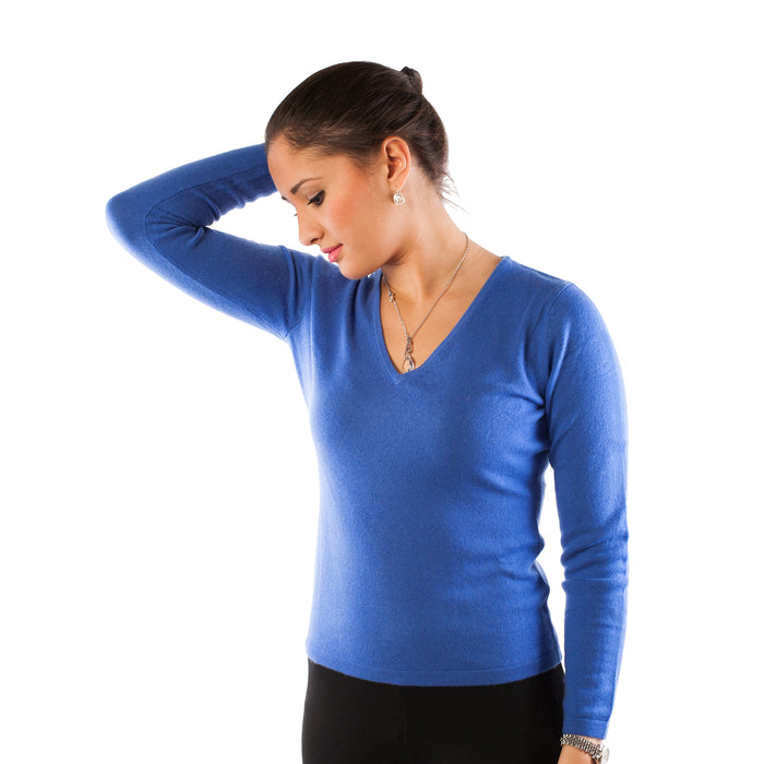 Dunedin 100% Cashmere Ladies Fashion V Neck Jumper Cornflower