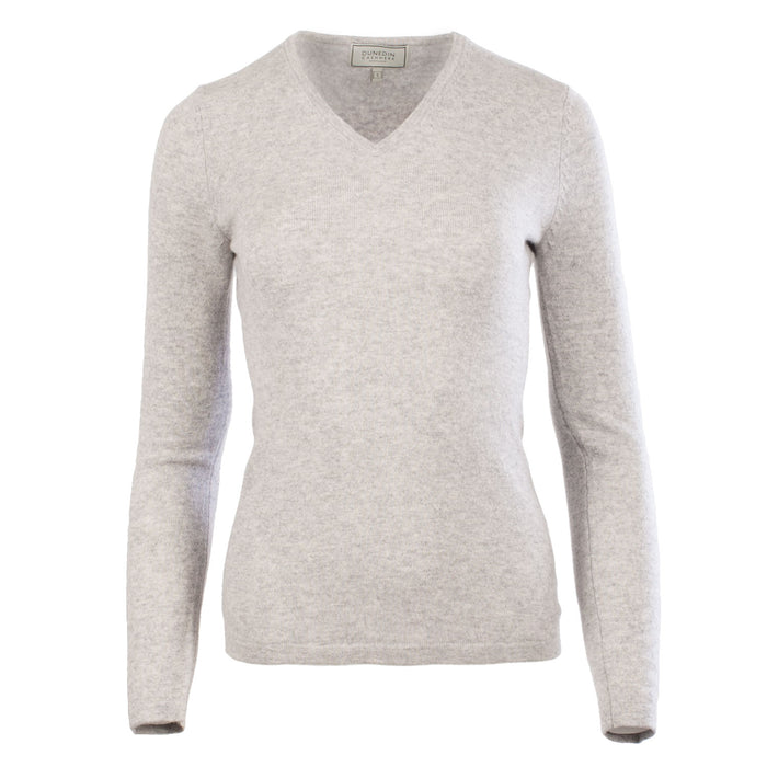 Dunedin 100% Cashmere Ladies Fashion V Neck Jumper Oyster
