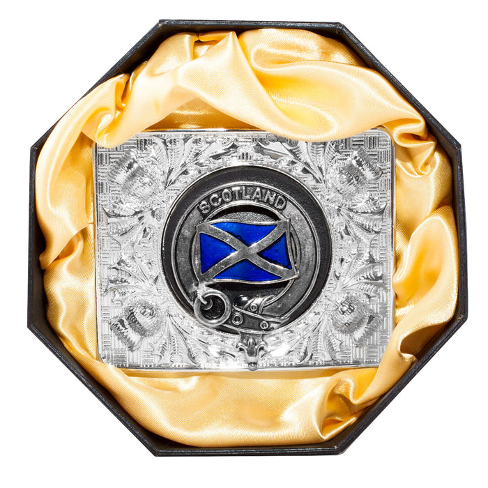 Clans Of Scotland Crested Belt Buckle Saltire