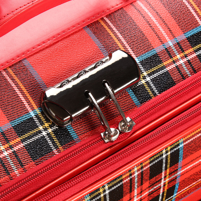 Set Of 3 Tartan Luggage Bags