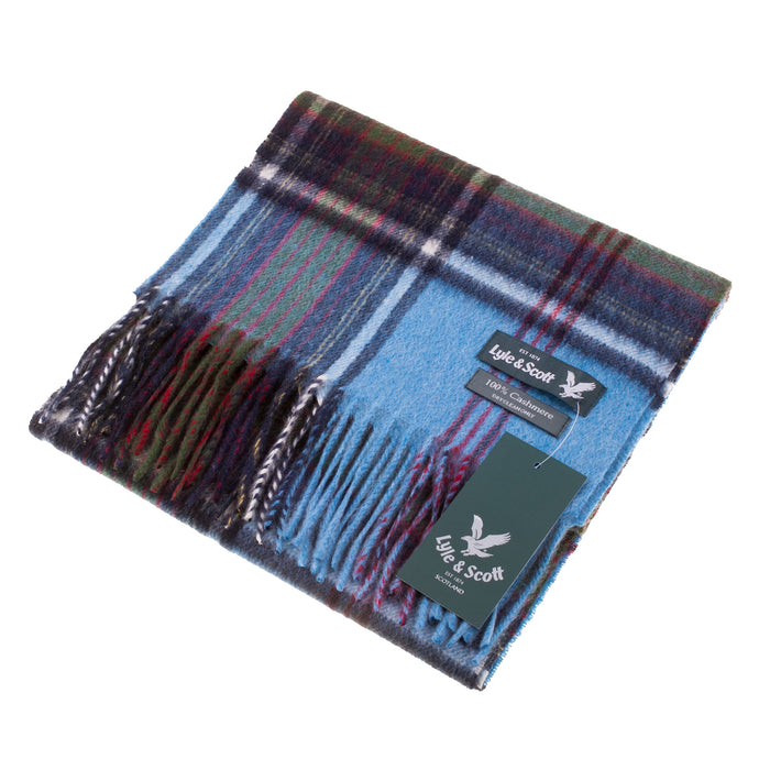 Lyle & Scott 100% Cashmere Scarf  Left Edge Tartan-Air Blue