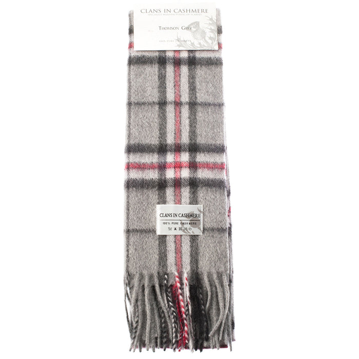 Clans Of Scotland Scottish Tartan Cashmere Scarf Thomson Grey