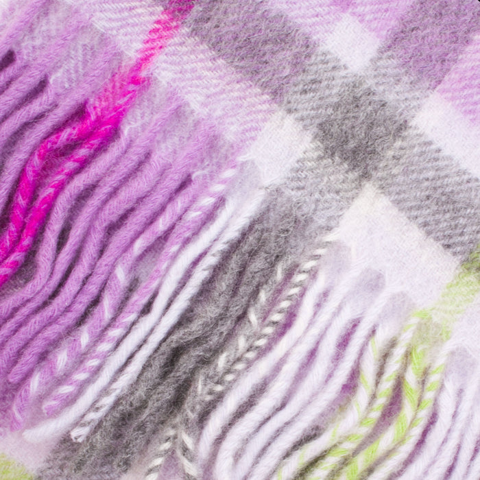 Edinburgh Cashmere Scarf  Light Purple Check