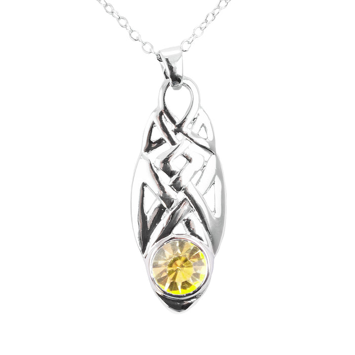 Celtic Knot Birthstone Necklace August