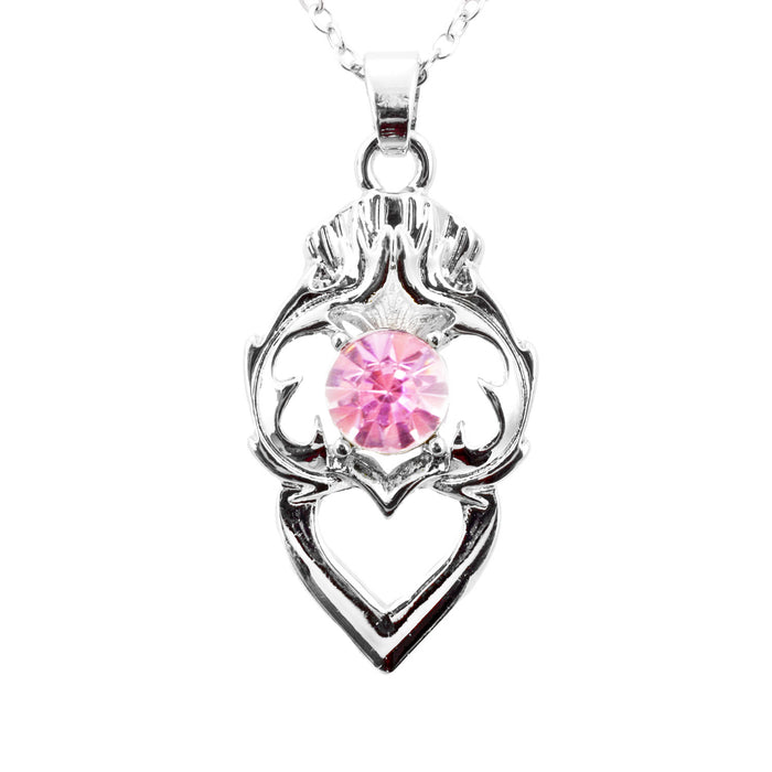 Thistle Heart Birthstone Necklace June