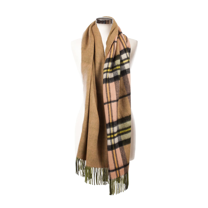 Edinburgh 100% Lambswool Double Faced Tartan/Plain Colour Stoles