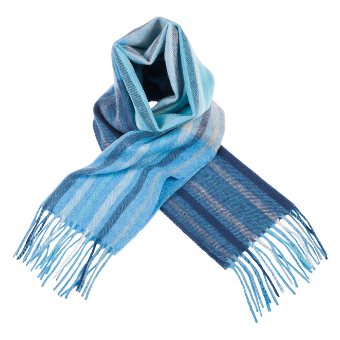 Edinburgh 100% Lambswool Scottish Tartan Multicolour Scarf Barcode Check - Aqua Blue