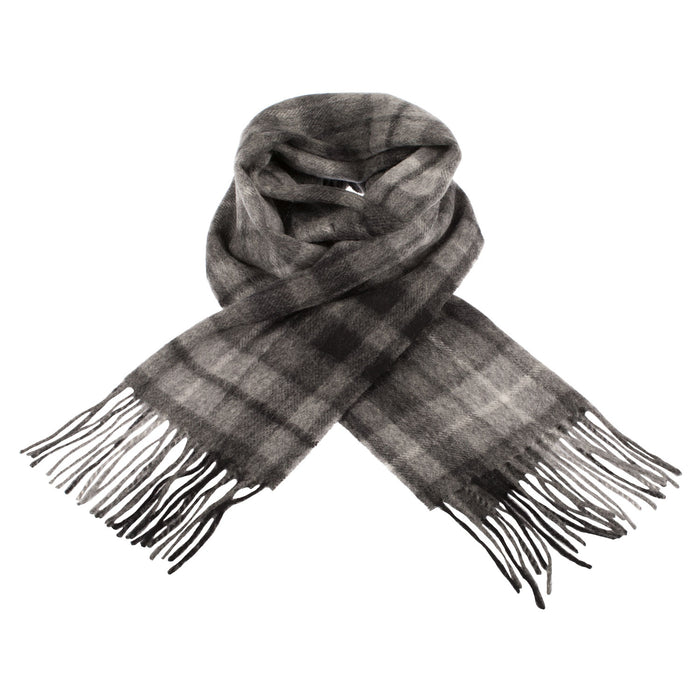 Edinburgh 100% Lambswool Scottish Tartan Multicolour Scarf Monochrome Buchanan