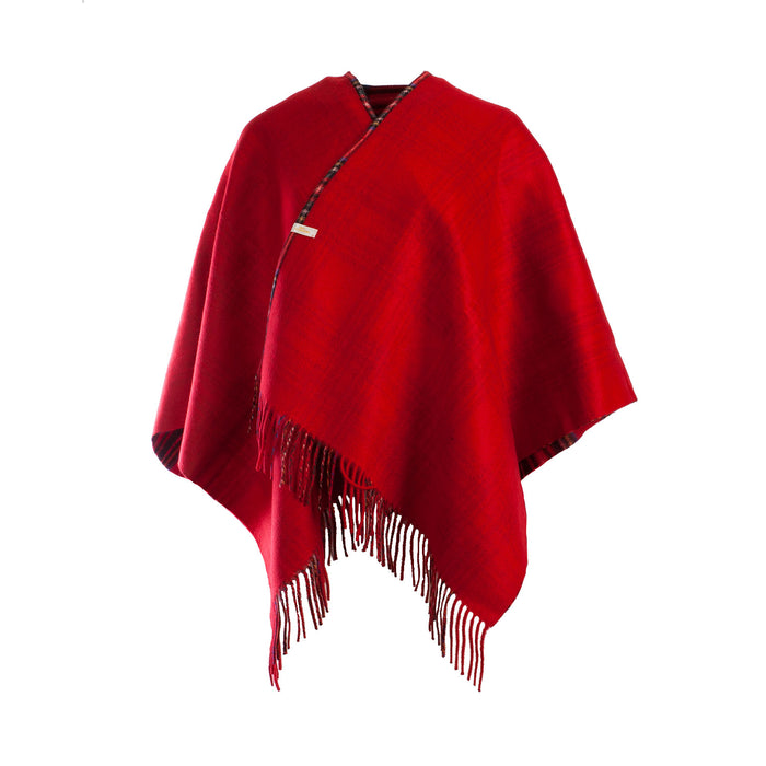 Dunedin Cashmere Double Sided Mini Cape  Stewart Royal/Red