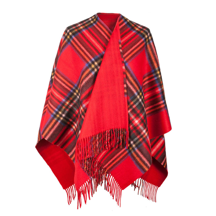 Dunedin Cashmere Double Sided Bug Check  Stewart Royal/Red
