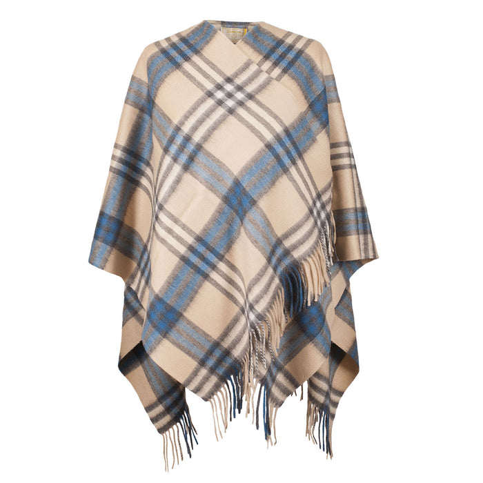 Dunedin Cashmere Big Check Mini Cape  Montgomery Blue
