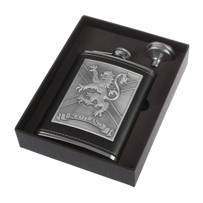 Lion Emblem 8Oz Flask/Funnel Box Set