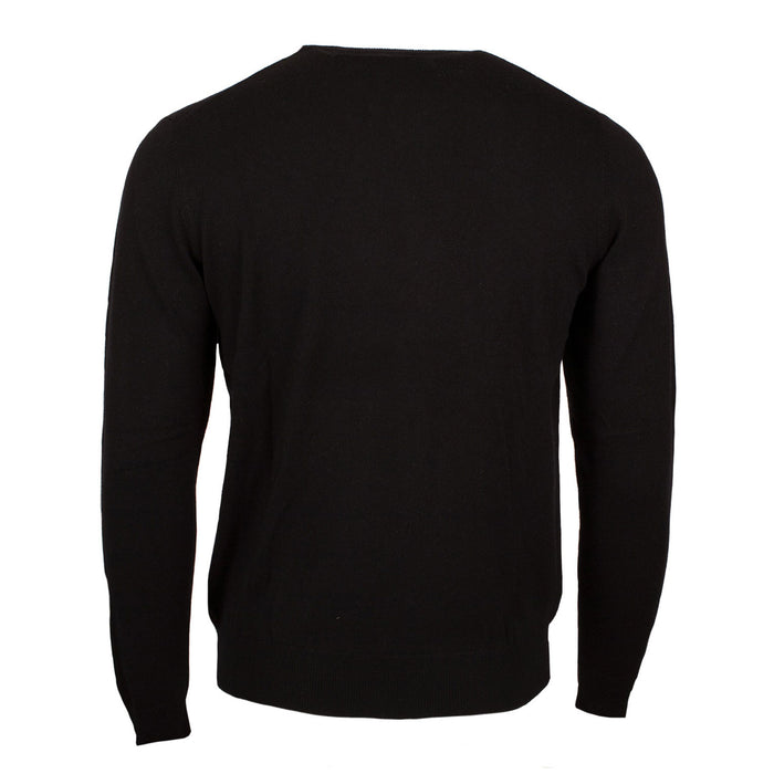 100% Merino Gents V Neck Sweater Black