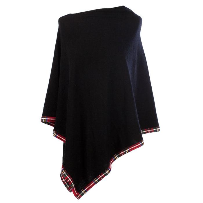 Dunedin Cashmere Women's  Poncho With Tartan Edge Trim