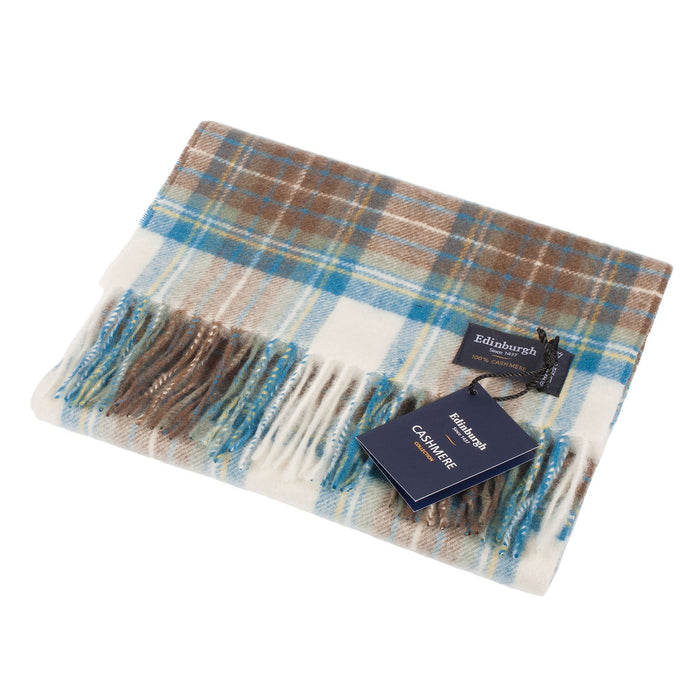 New Blue Label Edinburgh Cashmere Scarf  Stewart Muted Blue