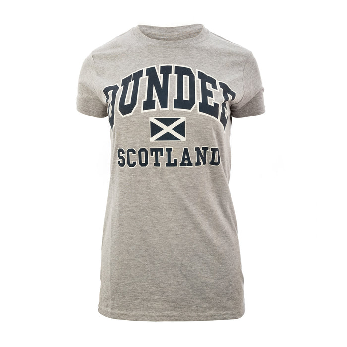 (D) Ladies Dundee Harvard Print T/Shirt Sports Grey
