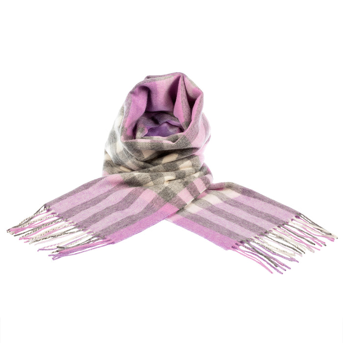 Chequer Tartan 90/10 Cashmere Scarf Bar  Heather