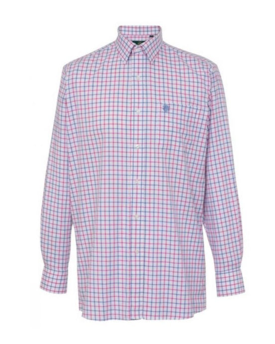 Alan Paine Men's Ilkley Check Shirt Blue/Pink