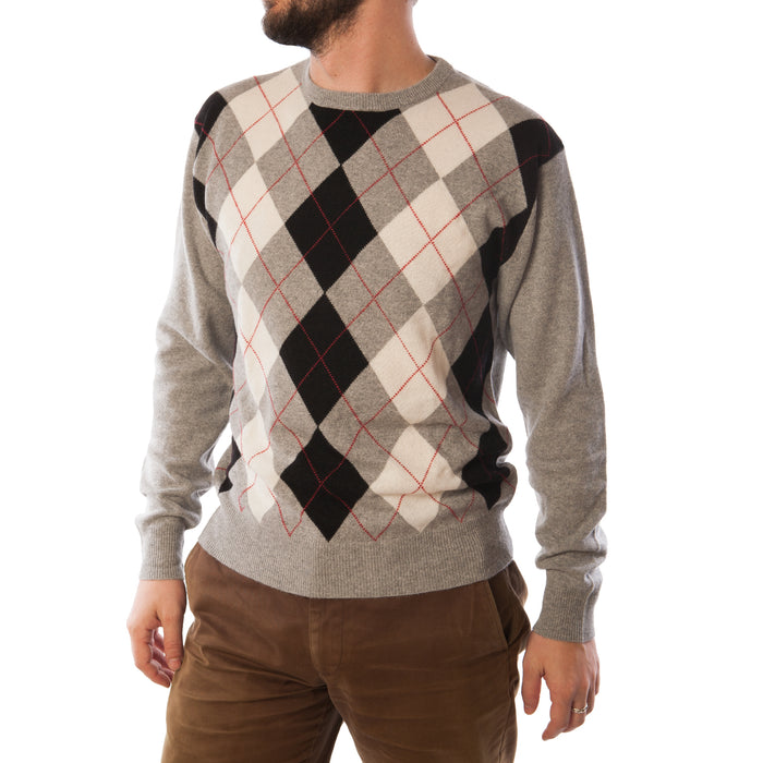 Cashmere Crew Neck Men's Argyle Jumper Light Grey
