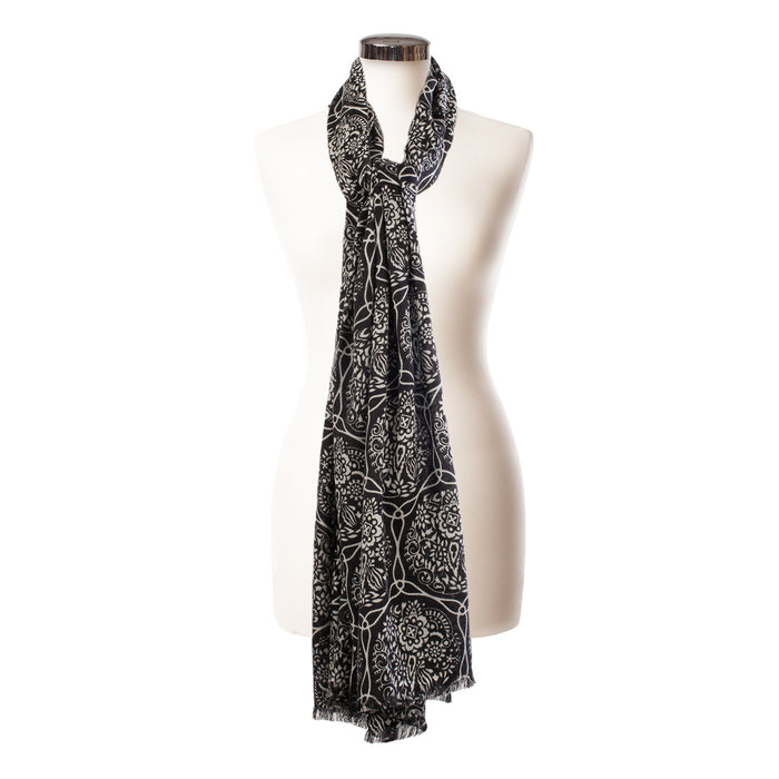Ladies Cashmere Fossil Print Shawl Black