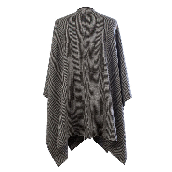 Ladies Cashmere Blend Herringbone Cape Black/White