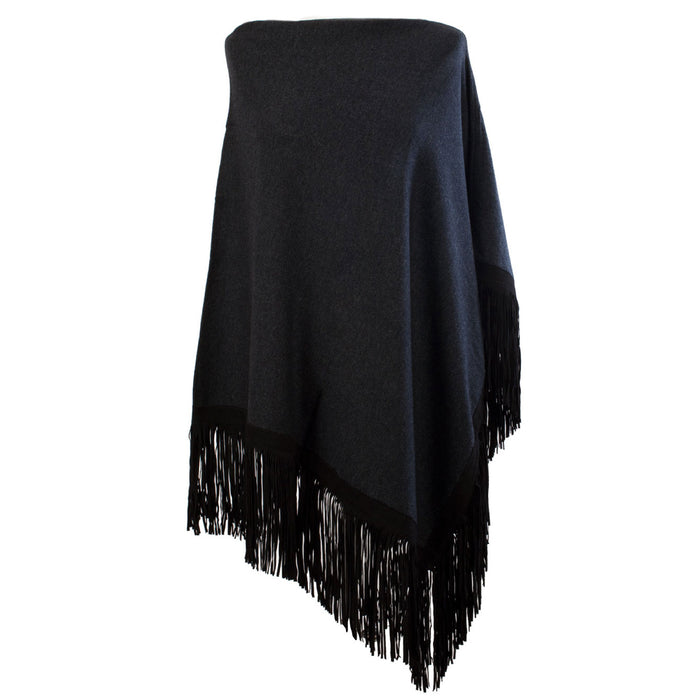 Ladies Cashmere Blend Suede Fringe Trim Poncho Charcoal