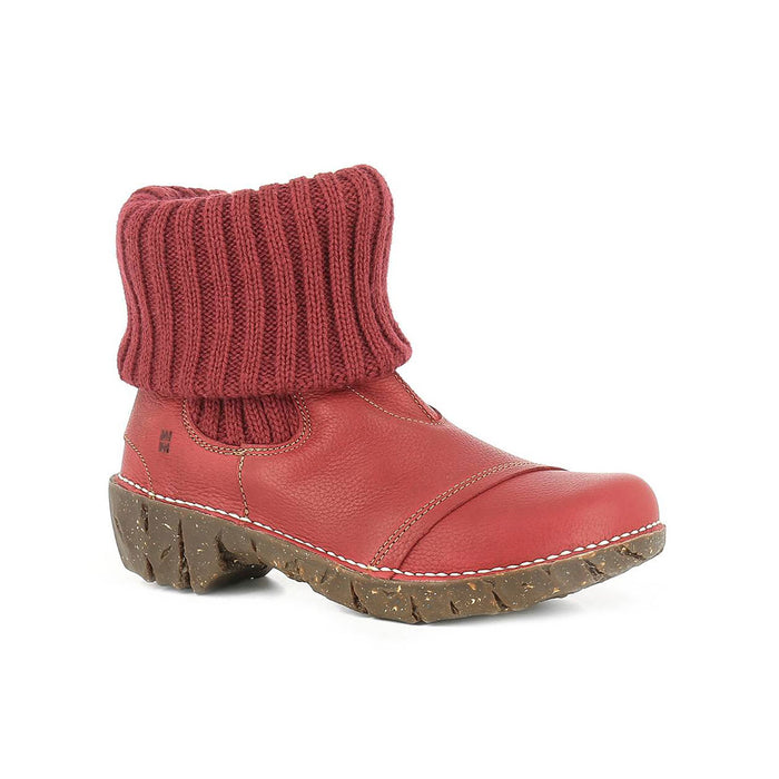Women's Grain Leather Knitted Ankle Boot