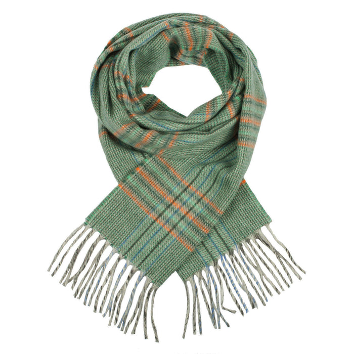 Cashmere Tweed Check Scarf Green