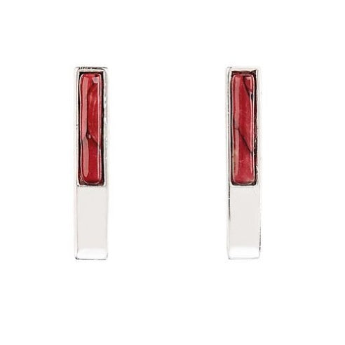 Skye Silver Rect Stud Earrings