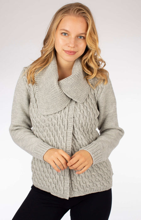 Women's Peregrine Crawford Cardigan Made In England Light Grey