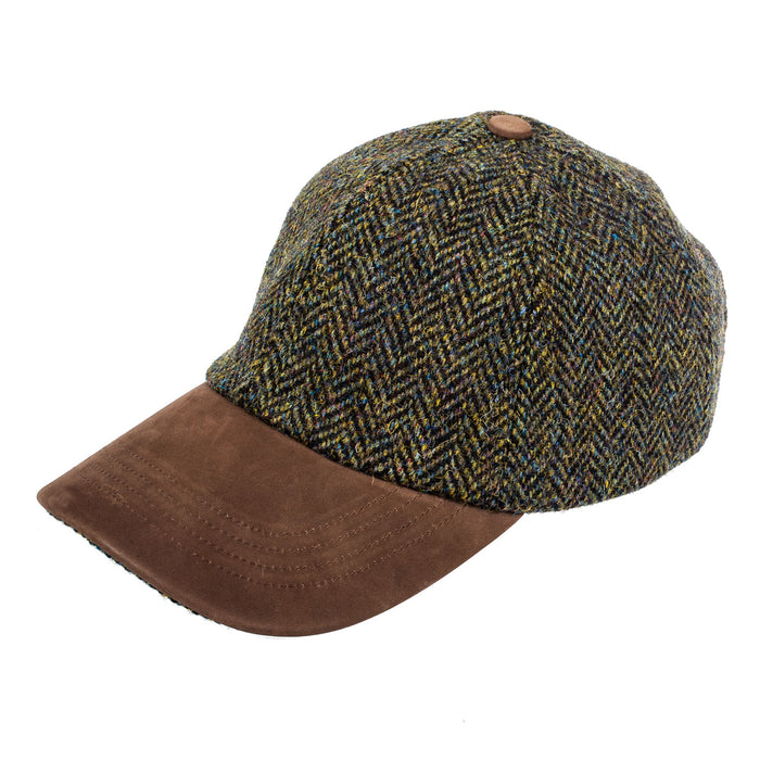 Heather Hats Men's Glencairn Harris Tweed Lth Pk Baseball Cap / Hat