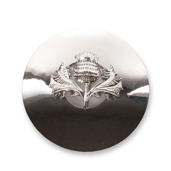Thistle Design Plaid Brooch Chrome Finish