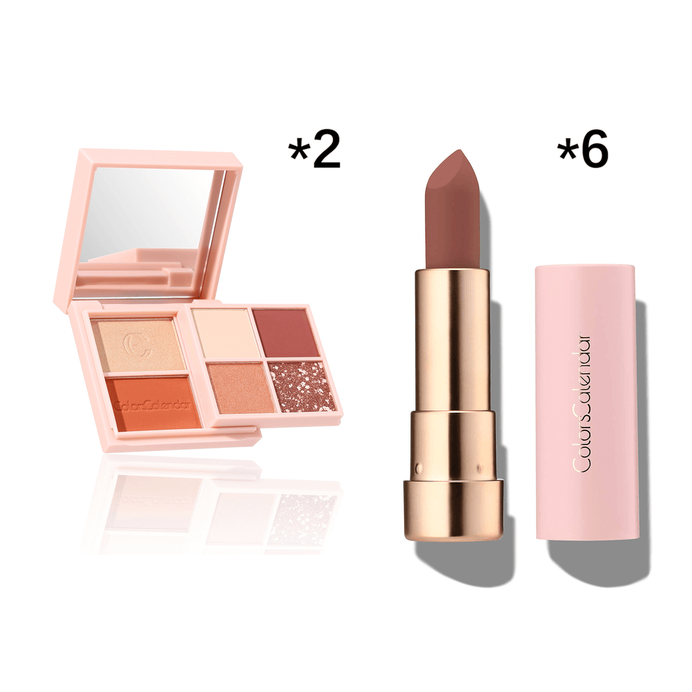 6 Lipsticks & 2 Eyeshadow All-in-one Set