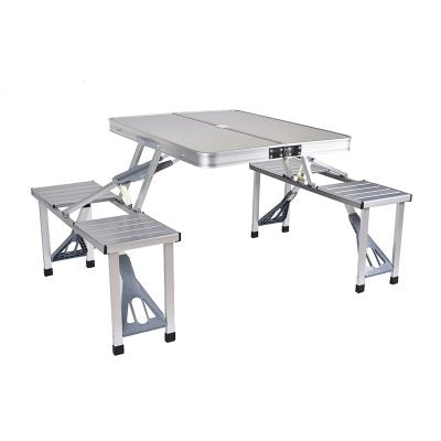Outdoor Portable Camping Picnic Integrated Folding Table with Desk Chairs Set