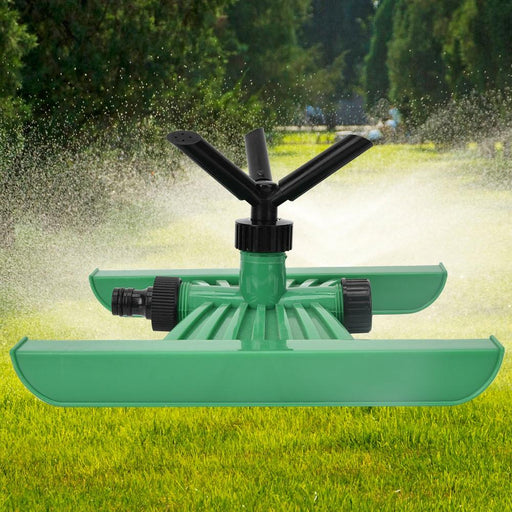 Three-arm rotating sprinkler with H-base
