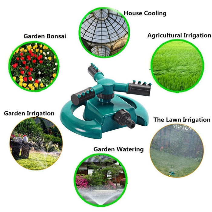 360 Degree Rotating 3 Nozzles Water Sprinkler