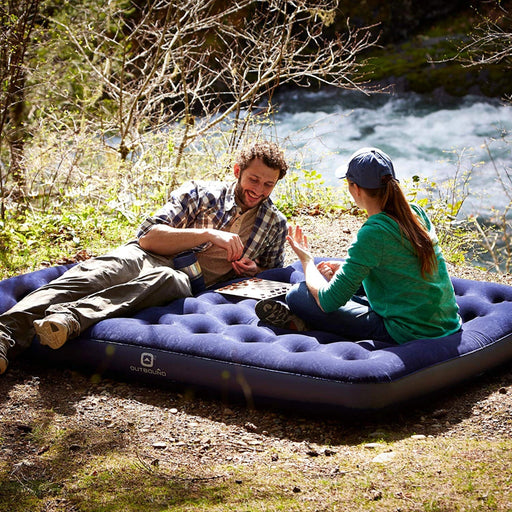 Double Flocking Extra large Camping Air Mat Air Bed Picnic Mat Inflatable Mattress Sleeping Pad With Electric Pump