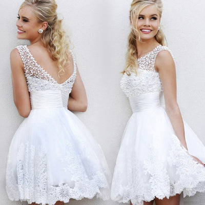 Retro beading short white dresses plus size