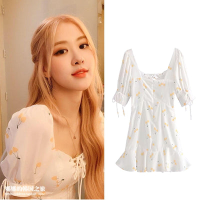 kpop Blackpink ROSE same Fresh sweet High waist dress women summer korean streetwear Harajuku dew Back Puff sleeve girl dresses