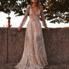 Ordifree 2020 Summer Women Maxi Party Dress Long Sleeve See Through Sexy Transparent Silver Sequin Mesh Long Dress