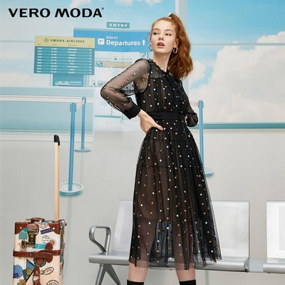 Vero Moda Women's French Style Elegance Dot Chiffon Dress | 31937D512