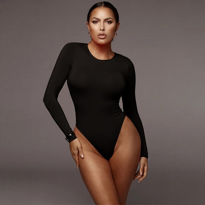 Long Sleeve Bodysuit Top Bodycon Catsuit Female Body Suit